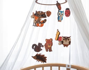 Forest mobile - Baby mobile forest animals - Fox baby mobile - Baby mobile forest - Forest baby mobile - Forest nursery mobile