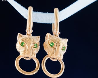Panther Jewelry, Animal Jewelry, Gold Earrings, Emerald Jewelry, Panther Earrings, 14k Gold, Free Shipping