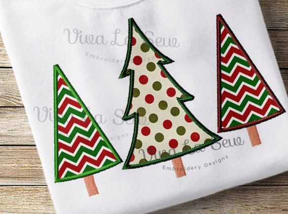 Instant Download Christmas Tree Trio Appliqué Holiday
