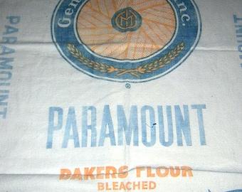 """3 large Vintage General Mills Cotton Flour Sacks- 35"""" x 36"""" each Feed Sacks"""