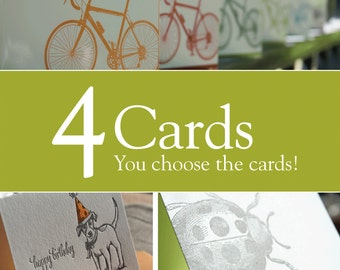 Pick any 5 letterpress printed cards, Value pack, eco-friendly