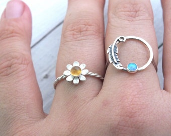 Daisy Ring, Sterling Silver Flower Ring, Citrine Daisy Ring, Textured Daisy Ring, 925 Flower Ring, Twist Silver Stacking Ring
