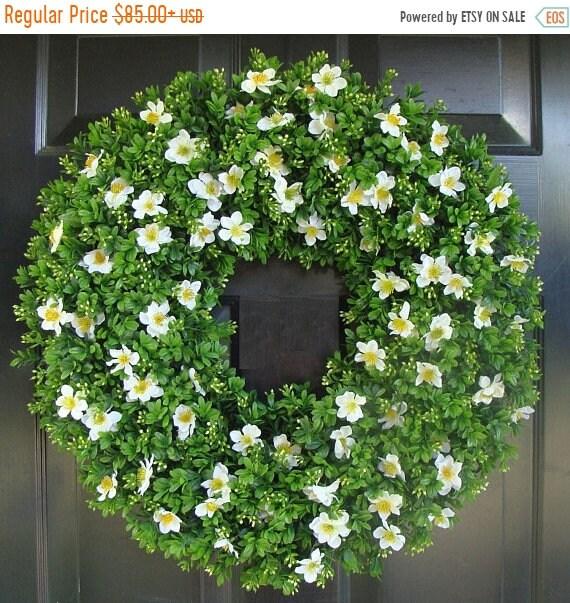 SUMMER WREATH SALE Housewarming Gift, Outdoor Decoration, Cottage Chic Door Wreath, 22 inch boxwood wreath (shown) silk flowers, Gift