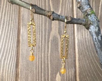 Gold Matte Rectangle Drop Earrings with Yellow Jade Gemstone