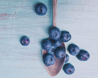 Food Photography - Blueberry Art Print - Pastel Blue - Kitchen Wall Art - Modern Minimalist - Still Life - Farmhouse Wall Art - Home Decor