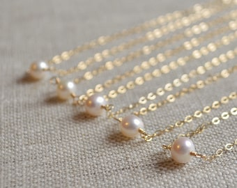 Real Pearl Bridesmaid Necklace Set, Choker, White Freshwater, Gold or Sterling Silver, Simple Wedding Jewelry, Adjustable, Free Shipping