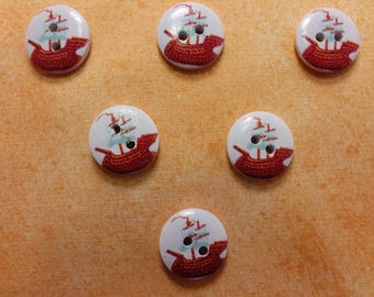 SET of 6 wood buttons: theme Starfish motif round boat 15mm (20)