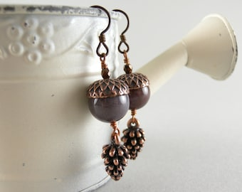 Grenache Stone Acorn and Copper Pinecone Earrings with Free USA shipping