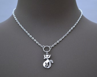"""PUSSY CAT O RING Charm Silver Plated Chain Necklace, 16"""" 18"""" 20"""""""