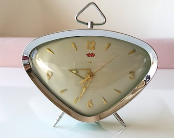 Vintage alarm clock Retro desk clock Triangle metal clock Wind up mechanical working clock Chinese Old table clock Mint green and gray retro