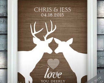 Rustic Woodland Wedding Love - Custom Date Name Print - Personalized Wedding Gift - Bridal Shower Gift - Buck and Doe - Unframed