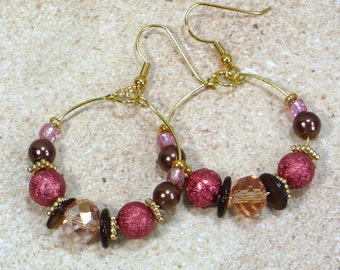 Coral, Brown and Gold Hoop Earrings: Beaded Hoop Earrings, Nickle-Free Earwires, Gifts for Her, Handmade in the USA, Ready to Ship