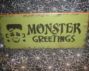 """Primitive  Holiday Wooden Hand Painted Halloween Salem Witch Sign -  """" Frankenstein Monster Greetings  """" Bats  Country  Rustic Folkart"""