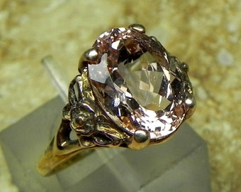 Pink Morganite   12x9mm  3.67 Carats   in an Antique styled Floral 14K yellow gold ring 1268