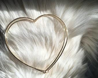 Gold or Silver Heart Hoop Earrings-Heart Shaped Earrings-Heart Shaped Hoops-Heart Earrings-Minimalist Earrings-Dainty earrings-Dainty hoops