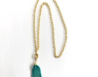 Turquoise Beads Tassel Necklace, 22K Gold Plated Rollo Chain, Removable Clasp, 38""