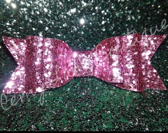 Glitter Double Stack Bow ( Light Pink)
