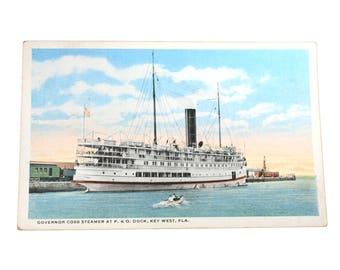 Governor Cobb Steamer at P O Dock Key West Florida, Vintage Postcard