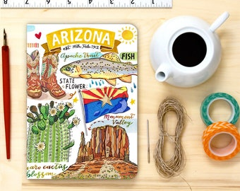 Arizona notebook, blank journal, state symbols, illustration, personalized stationery, gift.