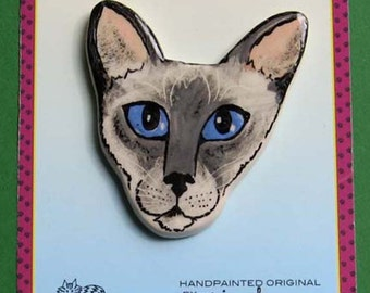 Blue Point Siamese cat pin