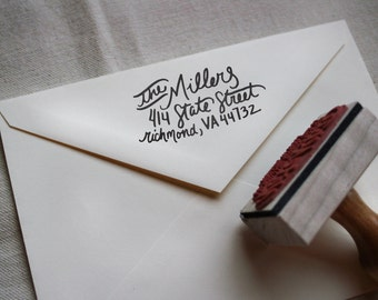 Custom All Hand Written Calligraphy Stamp, Return Address, Wood Mounted Rubber Stamp with Handle or Self-Inking, Miller Style