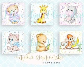 Sweet watercolour baby animals, illustrations, pocket mirrors, tags, scrapbooking, cupcake toppers,
