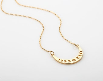 Gold Moon Phases Curved Pendant Necklace, Sideways Crescent Moon Charm Necklace, Rose Gold Celestial Jewelry, Lunar Necklace, Gift for woman