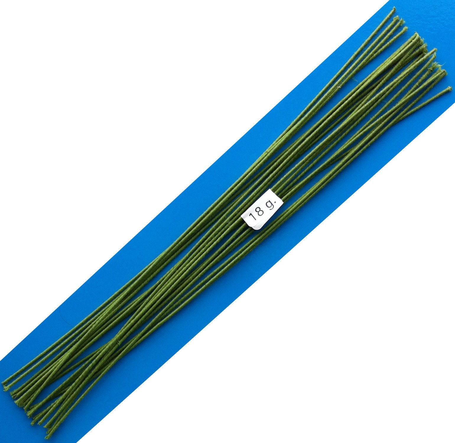 18 Gauge Green Cotton Covered Floral Wire - 20 feet per bundle (6.1m ...