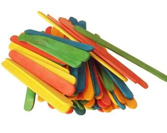 "100 ct Colored Popsicle Sticks / Wood Craft Sticks 4 1/2"" x 3/8"""
