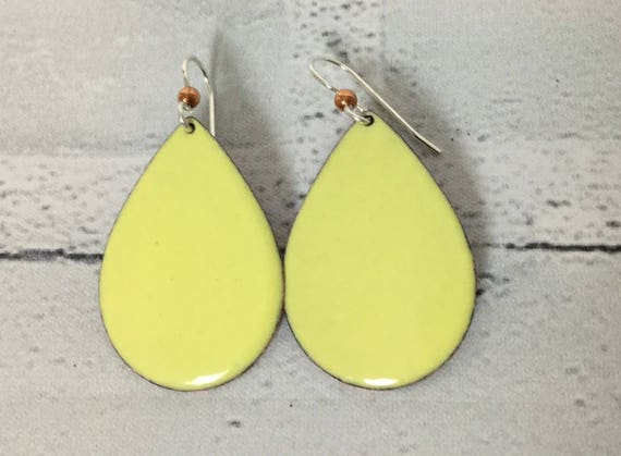 """Handmade Solid Yellow Enameled Copper Sterling Silver Drop Dangle Earrings 1.75"""" Professional Office Accessories Blacksmith Metalsmith #J18"""