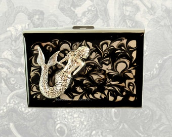 Metal Accordion Wallet Mermaid Antique Silver Inlaid In Hand Painted Black Ink Enamel Swirl Design Custom Colors and Personalized Option