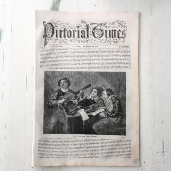 Antique 'Pictorial Times' Newspaper, December 1847