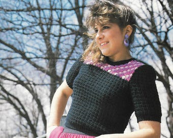 Pullover Crochet Pattern For Short Top - PDF Instant Pattern Download - Cute Short Crocheted Pullover Top Made With Puff Stitch
