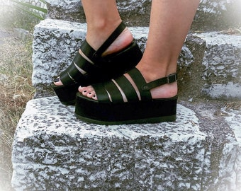"Black Leather Strappy Flatforms ""Doris"" / Platforms Sandals / Stripe Sandals / Genuine Greek Leather/Rubber Sole/Summer Slippers"