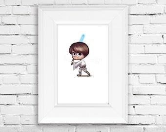 Star Wars Art - Baby Luke Skywalker Star Wars Print - Luke Printable - Instant Download Wall Art - 8x10 - Children Room Decor - Nursery Art