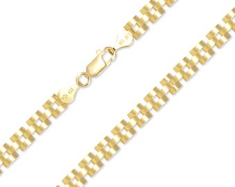"""10K Solid Yellow Gold Rolex Necklace Chain 6.0mm 18-30"""" - Watch Band Link"""