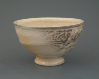 Chawan, woodfired translucent porcelain w/ celadon and natural ash glazes