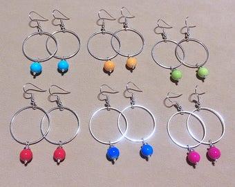 Beaded Silver Hoops, Medium Silver Hoops w/ Colorful Glass Beads, Bead Dangle Silver Hoop Earrings, Bright Gumball Beaded Thin Silver Hoops