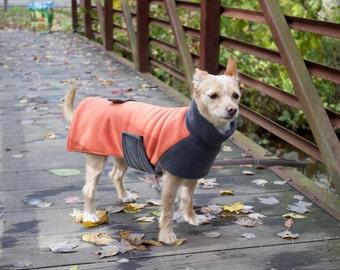 Custom Dog Fleece Coat- Dog Jacket- Luxury Dog Coat- Warm Dog Winter Coat- Orange/Gray Dog Jacket