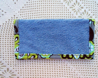 Checkbook Cover in Recycled Denim, sturdy hardworking denim for standard top tear checks and register, upcycled denim jeans 9
