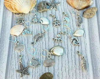 Seaside Stitch Markers// Sea Life Progress Keepers// Fish Knitting Markers