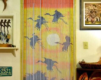 Vintage DEADSTOCK Bead Door Curtain: NOS 70s Fringe Doorway Room Divider,  Sunset U0026 Cranes