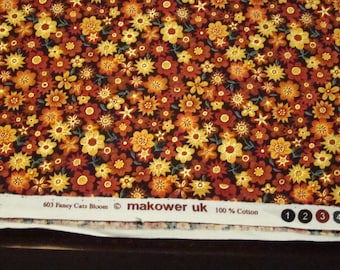 Brown, gold, orange and yellow quilting fabric