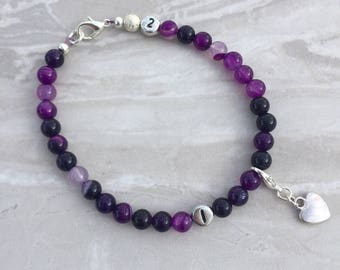 Purple weight loss tracker bracelet, slimming aid, weight loss, lifestyle aid, weight watchers, gift for her, purple agate bracelet, diet ai