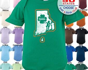 Rhode Island Home State Irish Shamrock Bodysuit / Boys / Girls / Irish / St. Patty's Day