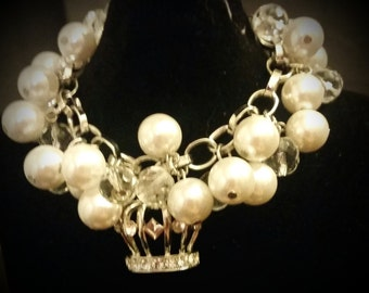After Life Accessories Repurposed Charm Bracelet Queen of Diamonds & Pearls