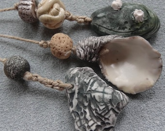 OOAK English porcelain sculpted bead set collection beach combed seaweed mussel oyster shell flotsam Katy Wroe -F79