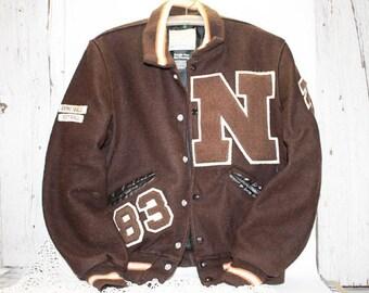 1983 Letterman's Jacket, Brown Wool, Softball, Basktball
