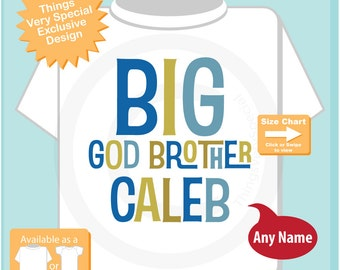 Boy's Personalized Big God Brother Tshirt or Onesie, Infant, Toddler or Youth sizes (09282015b)