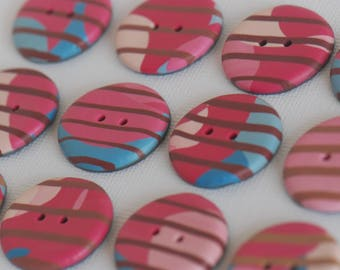 25 mm striped multicolored handmade Buttons, Set of 12, Red brown pink blue colors